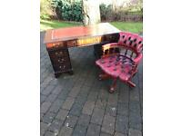 Chesterfield leather chair and desk