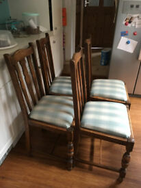 4 reupholstered Oak dining chairs