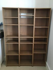 Shelving units 3 tall, 1 wide