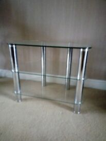 TV Stand Modern Clear Glass & Silver