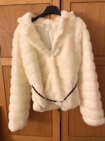 White faux fur coat S/M