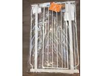 White stair safety gate