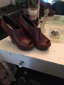 Brown wedge shoes