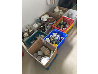 Job Lot of 9 Boxes of Ceramic and Glass Items (car boot sale)