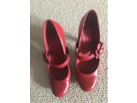 Ladies red leather shoes size 6
