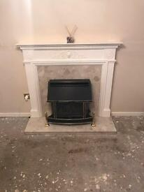 Solid marble fireplace back plate and hearth with mantel