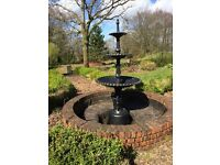 Beautiful period cast iron 3 tier reclaimed heron water feature