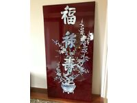 Chinese Lacquer and Mother of Pearl Placque