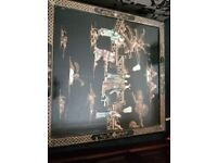 HUGE CHINESE BLACK LACQUERED MOTHER OF PEARL INLAID TABLE