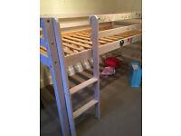 White mid-sleeper bed