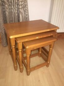 Nest of 3 tables (coffee table) - solid pine wood