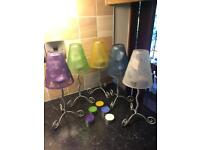 5 DISNEY Glass Candle Lights - (With Different Coloured Globes) - NEW