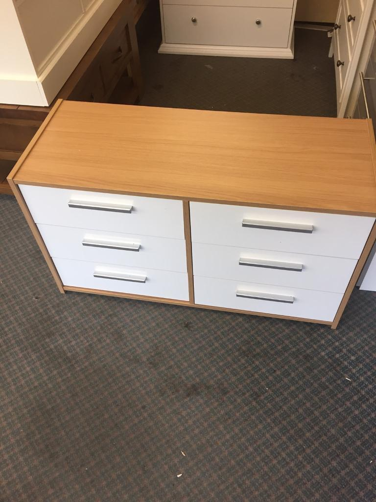 New Sywell 3+3 drawer chest Oak Effect and White Gloss