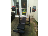 Home Gym for sale. Weight bench, barbell, dumbbell and 70kg free weights available.