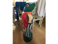 Antique 'Toad of Toadhall' Statue - Handmade - Solid Wood -Very colourful statue looking 4 new home