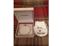 Silver Pandora 20cm bracelet and 3 charms