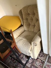Fabric armchair (maybe recliner)