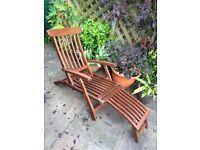Teak and brass antique-style steamer chair sun lounger