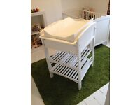 John Lewis changing table in white wood - with soft mat, drawer and shelves