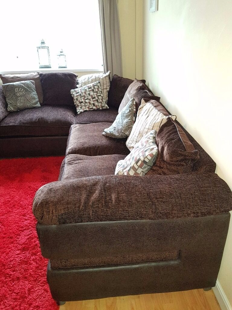 Brown Fabric Corner Sofa with build in Sofa Bed Sofology