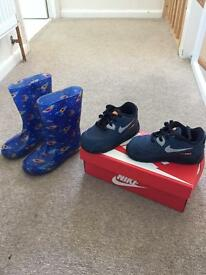Nike boys trainers - toddler and a pair of wellies