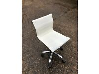 Herman Miller like white short back leather chair