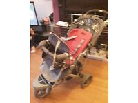Double pram for new born and toddler