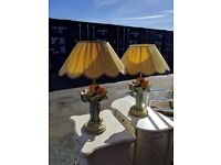 Pair of ceramic painted table lamps