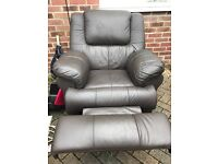 Leather effect recliner chair