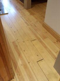 Wood Pine flooring. T&G varnised