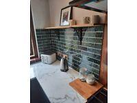 Green glazed ceramic metro tiles