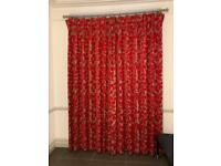 Large Pair of Cut Velvet Red & Grey Pinch Pleat Curtains & Pole 101 Inch Drop X 78