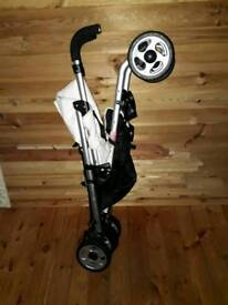 Massimo White Leather Pushchair