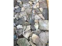 A selection of york stone style crazy paving