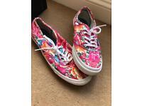 Pink Floral Unique Vans Shoes Flats - UK Size 5.5