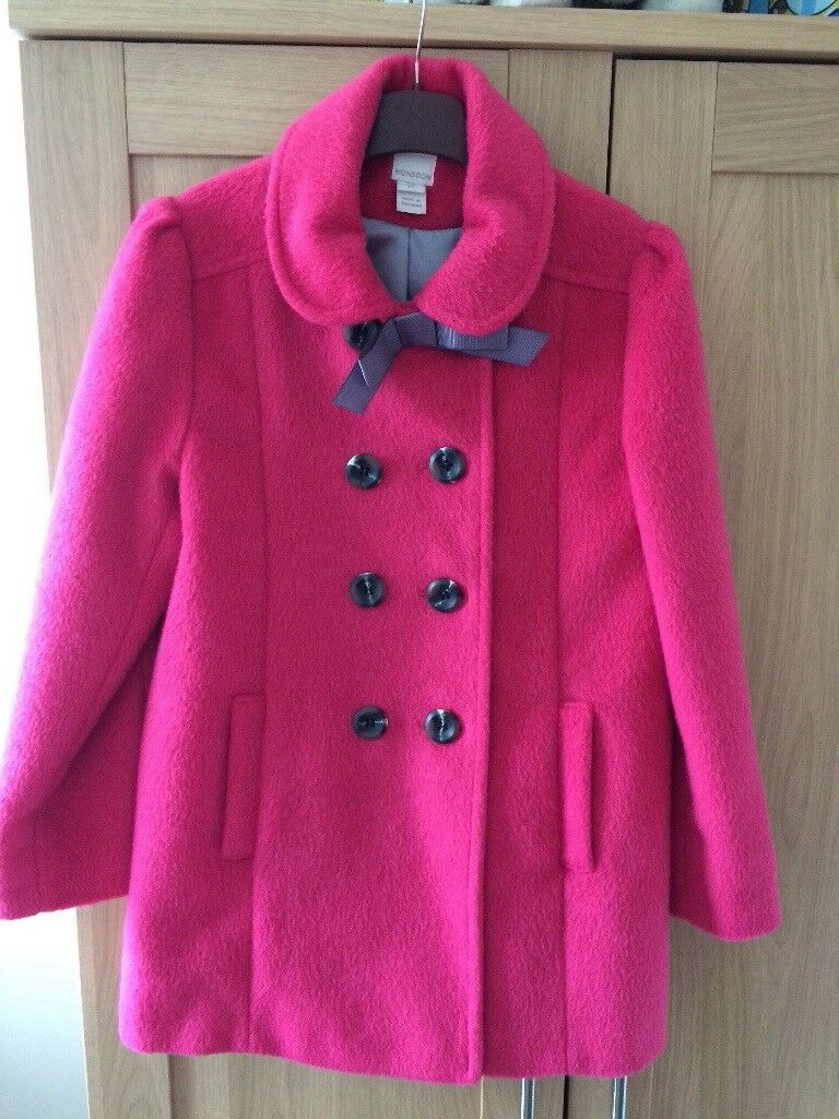 Girls pink lined monsoon coat