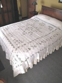 Antique Vintage Fine White Cotton Hand Drawn Threadwork Lace Large Bed Spread Cover Throw