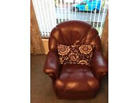 Burgundy leather 3 piece suite with reclining armchairs
