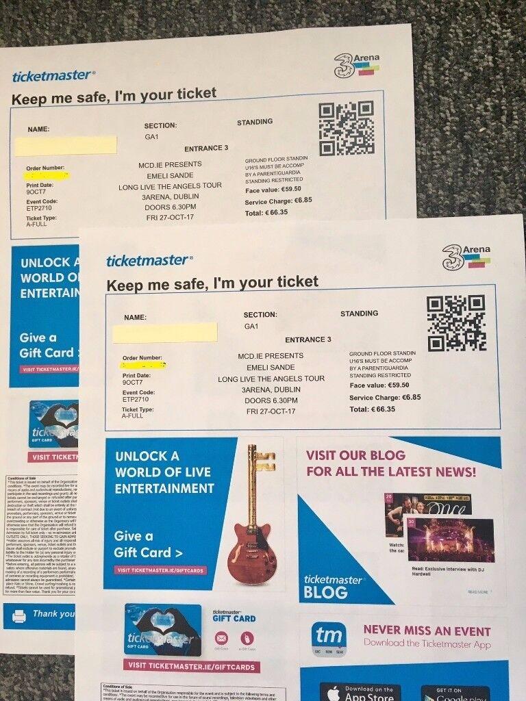 2x Emeli Sande Tickets, £70 for Both - Dublin, 3 Arena, 27th October 2017 (Standing)