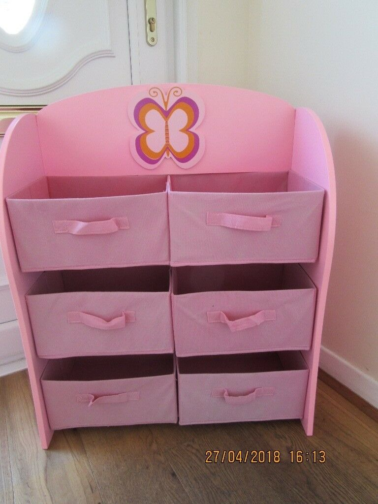 S Wooden Pink Toy Storage Unit With Erfly