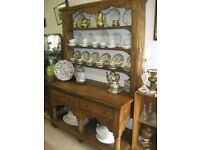 ANTIQUE SOLID PINE ORNATE FRENCH OPEN BACKED DRESSER. TOP DETACHABLE. VIEWING/DELIVERY AVAILABLE