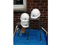 3 x joblot work hard hats site builders white