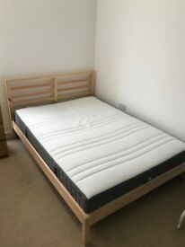 Ikea Wooden Double Bed Frame + Mattress (Separate or together)