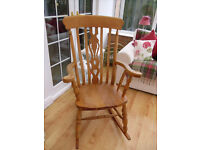 LARGE SOLID CHUNKY WOODEN ROCKING CHAIR