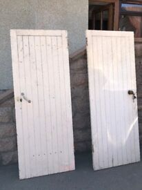 TWO WELL MADE HEAVY DUTY WOODEN DOORS, FOR SHED GARAGE OUTHOUSE