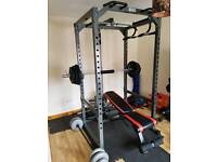 Full power rack and Olympic weights