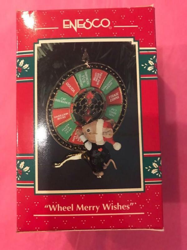 Enesco Treasury Ornament 1993 Wheel Merry Wishes 5th Casino Christmas Mouse HTF