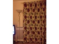 Lined Curtains with Floral Print