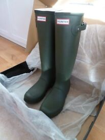 BNIB Genuine Original Tall Hunter Wellies Women's Wellington Boots - Dark Olive UK 7 EU 40/41