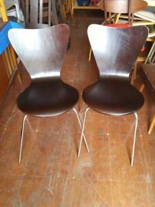 Oakville 2 IKEA Vintage Bent Wood Chairs Retro Stainless Steel Legs Dark Brown wood Sturdy Unique Kitchen Dining